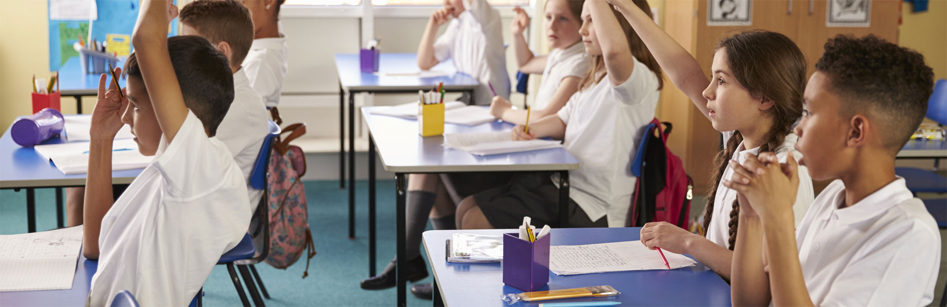 Pupils raising hands in class