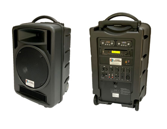 Portable - ready to-go straight out of the box with 2 wireless microphones, built-in battery, Bluetooth and CD player; you can take this great sounding system anywhere.